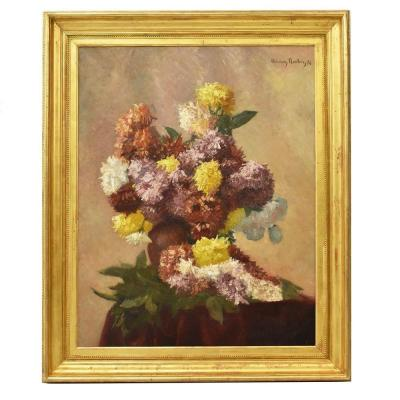 Flowerpainting, Peonies Flower Art, Still Life Floral, Oil On Canvas, 19th Century. (qf158)