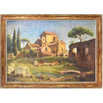 Landscape Painting, Rome Painting, Monastery Church, Oil On Canvas, 20th Century. (qp16)
