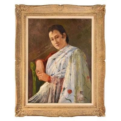 Tableaux Anciens, Portrait Ancien Femme Espagnole, Huile Sur Toile, XXème siècle. (QR47)