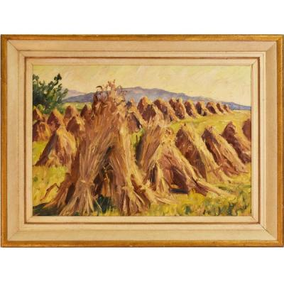 Landscape Painting, Sheaves Painting, Oil On Canvas, 20th Century. (qp29)