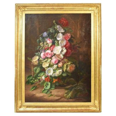 Large Flowerpainting, Peonies And Roses, Still Life, Oil On Canvas, 19th Century. (qf184)