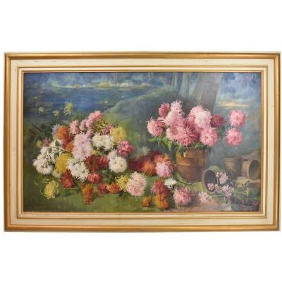 Flowerpainting, Peonies And Waterlilies, Flower Art, Oil On Canvas, 19th Century. (qf91)
