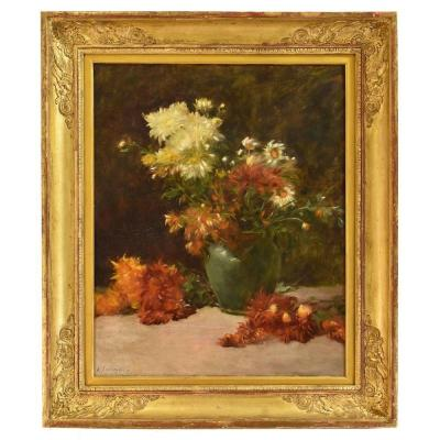 Flowerpainting, Peonies And Daisies, Still Life Art, Oil On Canvas, 19th Century. (qf10)
