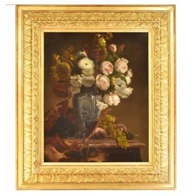 Flowers Painting, Roses And Grapes Flowers, Oil On Canvas, 19th Century.  (qf55)