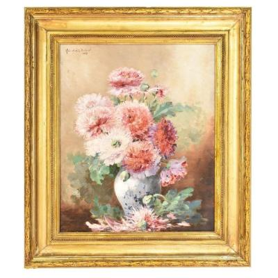Painting Flowers Peonies, Still Life, Oil On Canvas, 19th Century. (qf66)