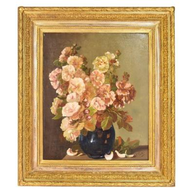 Painting Flowers Roses, Still Life, 19th Century. (qf78)