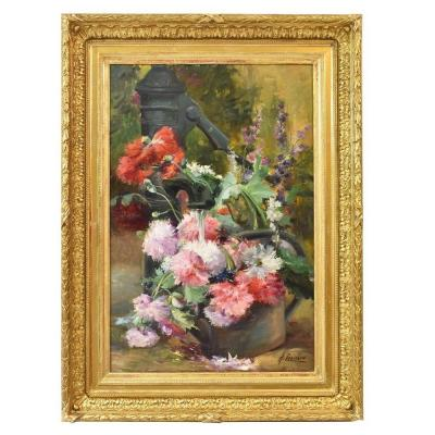 Flowerpainting, Peonies And Fountain, Still Life Art, Oil On Canvas, 19th Century. (qf160)