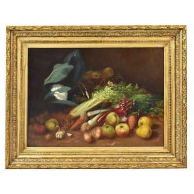 Still Life Painting, Vegetable And Fruit, Oil Painting On Canvas, 19th Century. (qnm165)