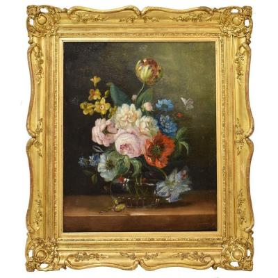 Flowerpainting, Tulips And Roses, Flower Art, Still Life, Oil On Canvas, 19th Century. (qf176)