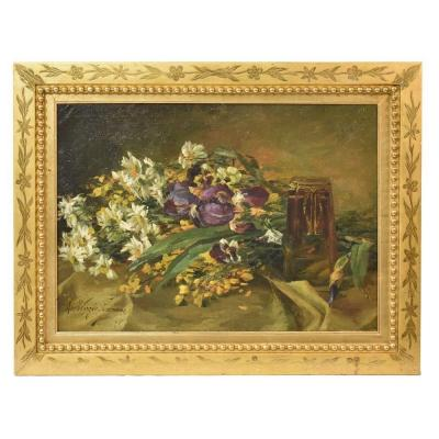Tableaux Anciens Fleurs, Peinture Fleurs, Bouquet De Iris et Pensée, Début XX siècle. (QF185)