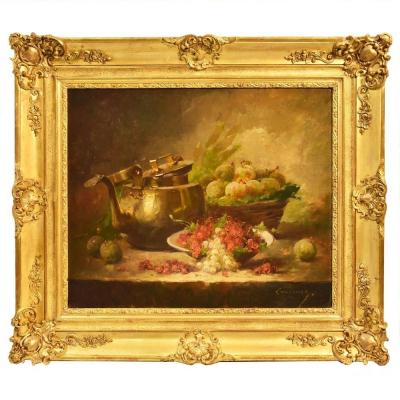 Still Life Art, Antique Painting, Ribes And Prunes, Oil Painting On Canvas, 19th. (qnm187)