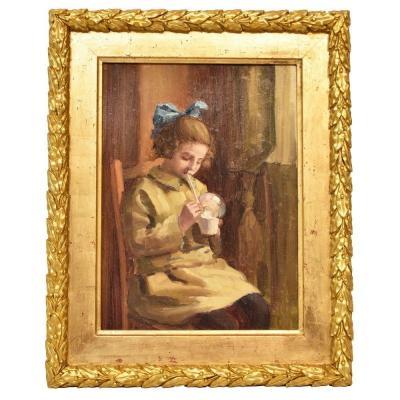 Portrait Painting, Child Playing, Art Deco, Oil On Wood, Early 20th Century. (qr189)