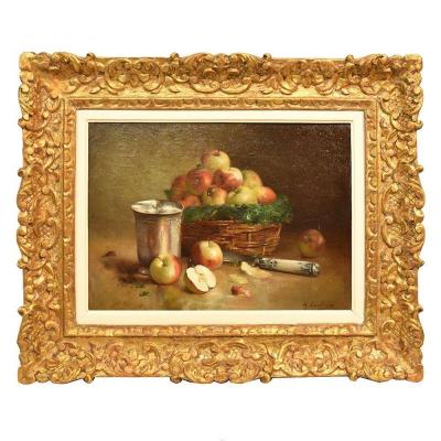 Antiquepainting, Still Life Painting, Basket Of Red Apples, Oil On Canvas, 19th.(qnm 279)