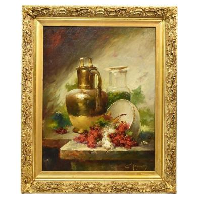 Still Life Art, Antique Painting, Ribes And Copper, Oil Painting On Canvas, 19th. (qnm280)