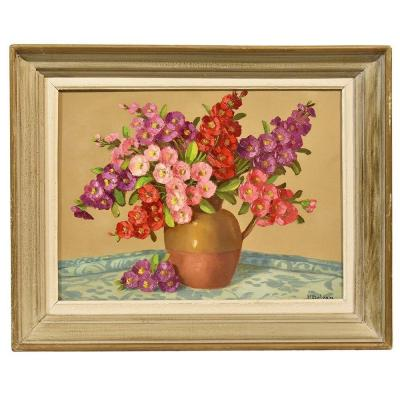 Flowerpainting, Small Roses Painting, Still Life, Oil On Canvas, Art Deco. (qf286)