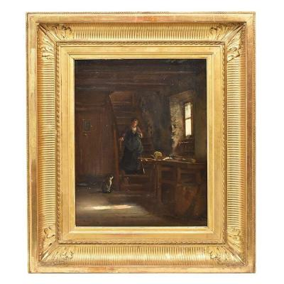 Antique Painting, Interior, Oil Painting On Wood, French Painter, 19th Century. (qrin274)