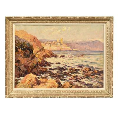 Little Seascape Painting, Nature Painting, Oil On Canvas, Early 20th Century. (qm288)
