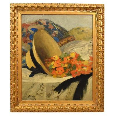 Still Life Painting, Straw Hat And Flowers Painting, Oil On Canvas,  Art Deco. (qnm293)