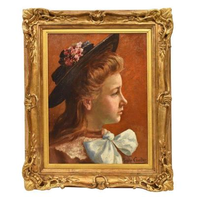 antique Painting, Young Woman Portrait Painting, French Oil Painting On Canvas, 20th  (qr 301)