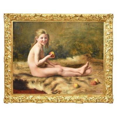 Young Woman Portrait Painting, French Oil Painting On Canvas, 19th Century. (qr 310)