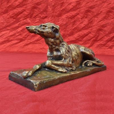 Antique Bronze Sculpture, Art Deco, Little Greyhound Dog, 20th Century. (stb49)