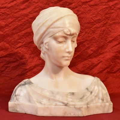 Antique Marble Statues, Woman With Turban, Italian Sculptor, Signed Pugi, XIX Century. (stal52)