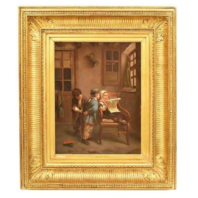 Children Playing Portrait Painting, French Oil Painting On Paper Mache, 19th Century. (qr 314)