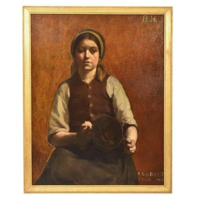 Young Woman Portrait Painting, French Oil Painting On Canvas, 20th Century. (qr 318)