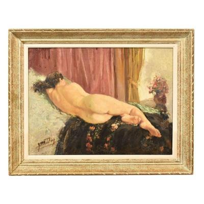 Nude Oil Painting, Nude Woman Oil Painting, Art Deco, Oil On Canvas, XX Century. (qn331)