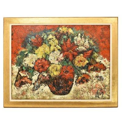 Still Life Painting, Flowers Vase Painting, Vase Of Roses, Oil On Canvas, 20th Century. (qf183)