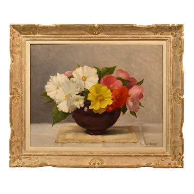 Art Deco Flower Painting, Flower Painting, Still Lifes Oil On Canvas, XX Century. (qf340)