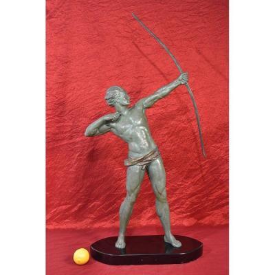 Antique Antimony Sculpture, Archer, Signed Roncourt, 20th Century. (stan 67)
