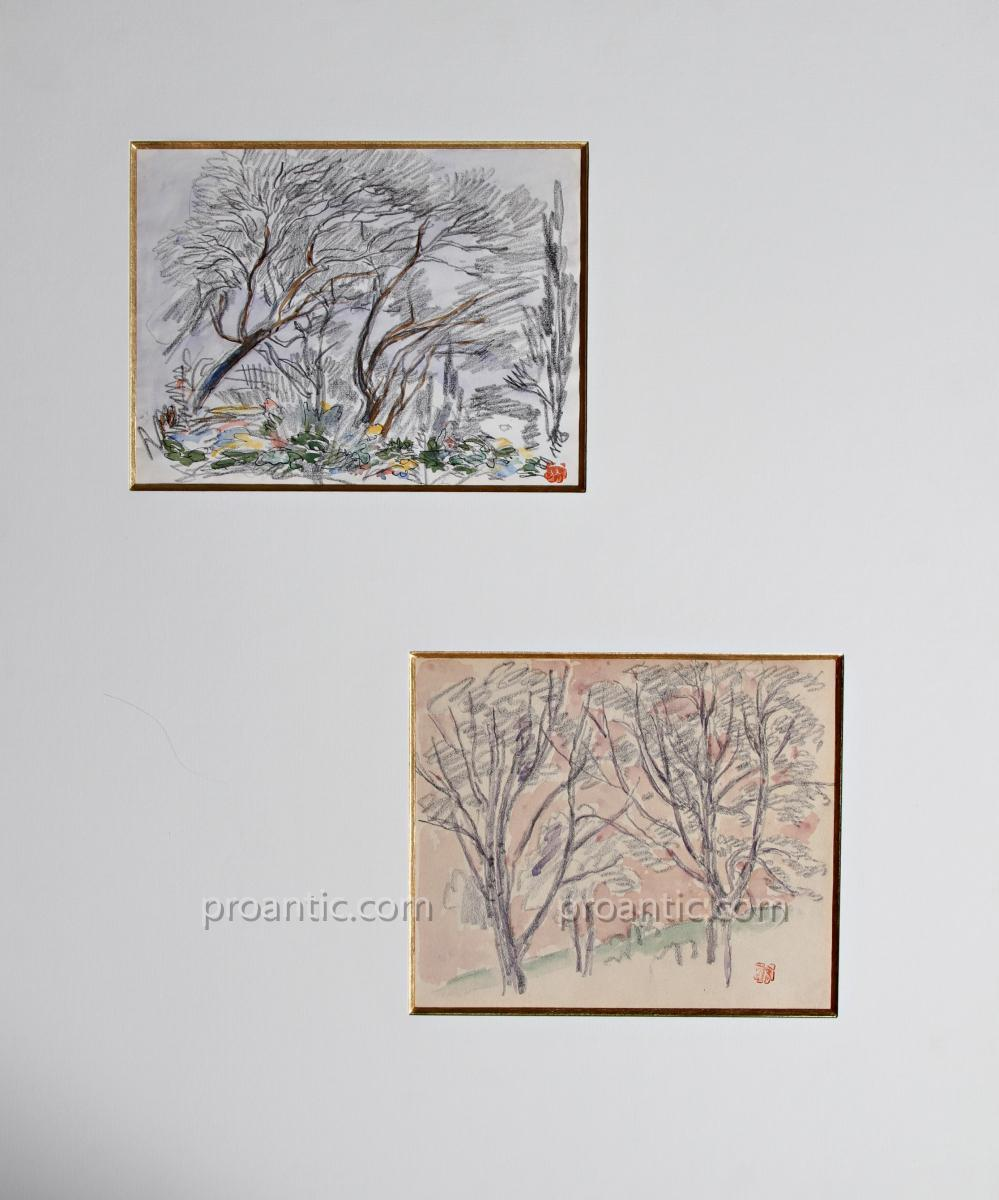 Two Watercolored Drawings By Jules Chadel 1870-1942