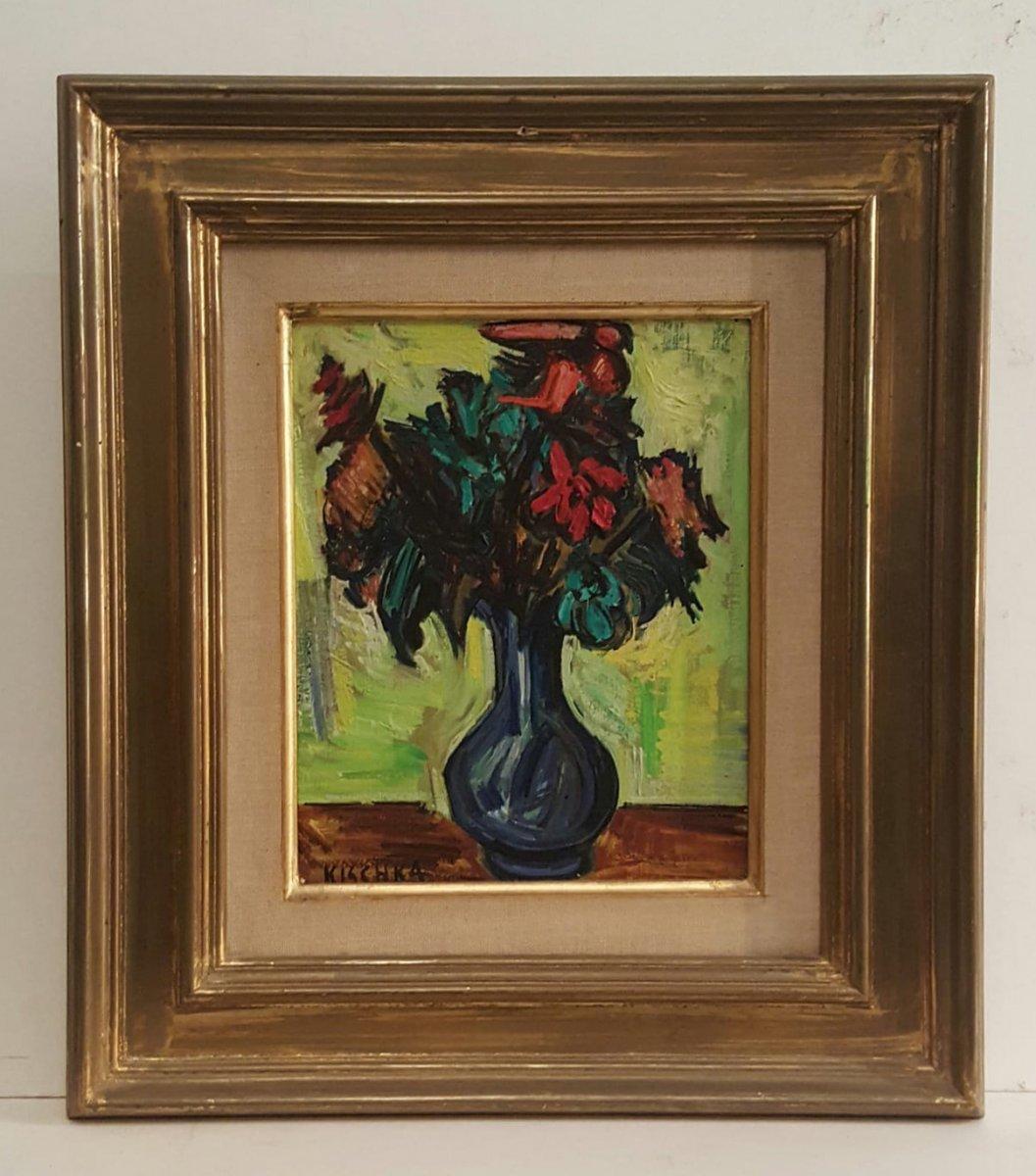 Vase bleu au fond vert  de Isis Kischka. Huile sur toile