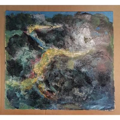 Paysage:huile sur papier par Leopold Reigner