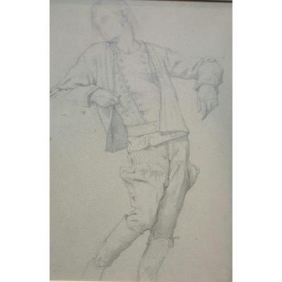 Gabriel Ferrier : étude d'homme en costume traditionel