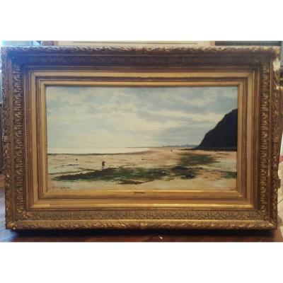 La plage d'Arromanche par Olivier Cheron en 1887