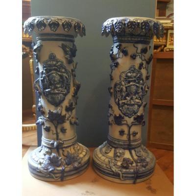 Deux colonnes en grès de Westerwald
