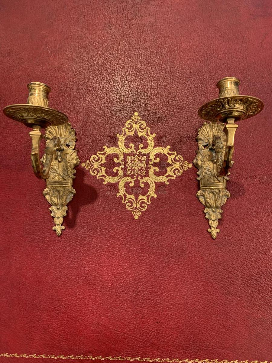 Wall Lamps With 1 Arm Of Light Gilt Bronze Ep Louis 14