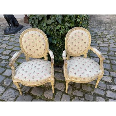 Pair Of Armchairs Th. Louis 16 Fresne Gray Green Patina