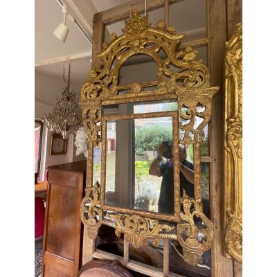 Miroir à Parclose époque Regence Bois Doré