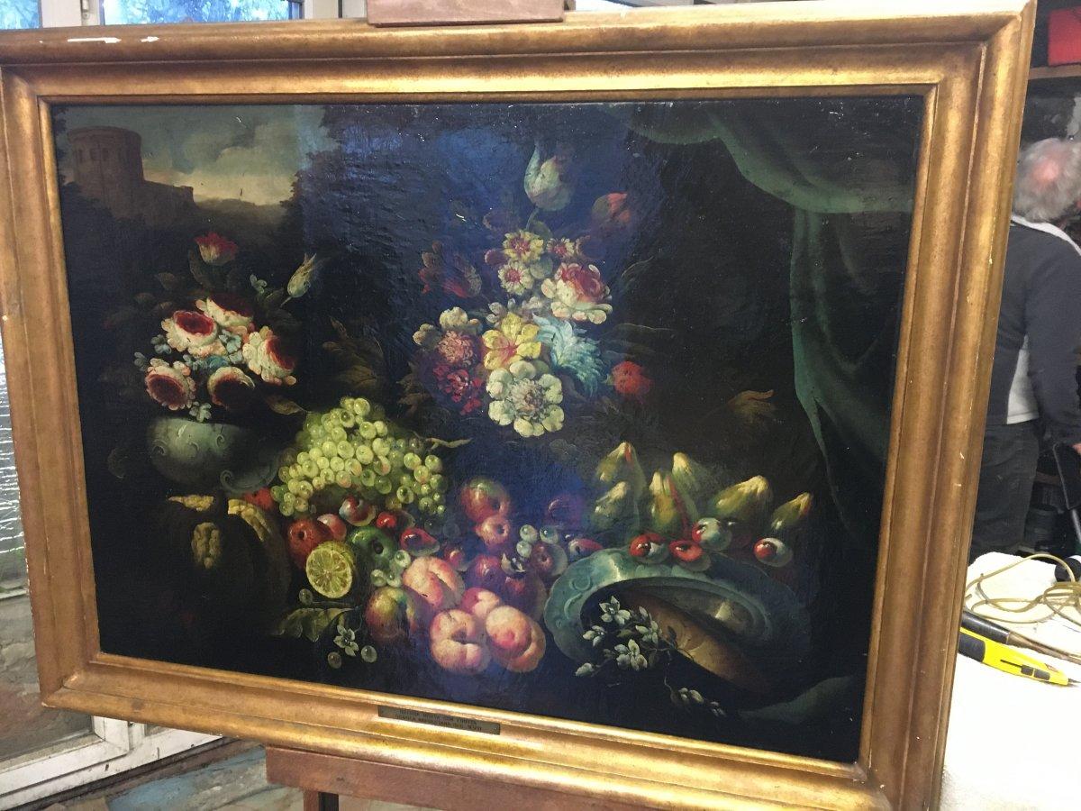 H.S.T. Nature Morte aux Fruits et Fleurs 17ième siècle