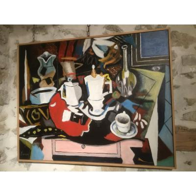 "Oil On Canvas Roland Chanco, ""still Life With The Coffee Pot"""