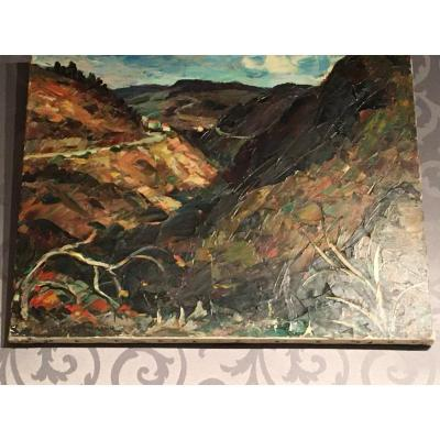 """Oil On Canvas By Maurice Vagh Weinmann """"the Mountain Road"""""""