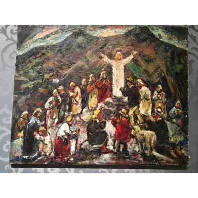 """Oil On Canvas  By Maurice Vagh Weinmann """"le Golgotha"""""""