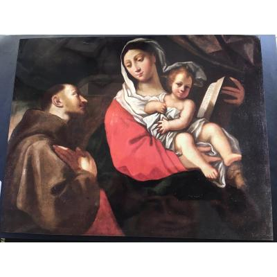 """Oil On Canvas """"adoration Of The Holy Family"""", Early 17th Century"""