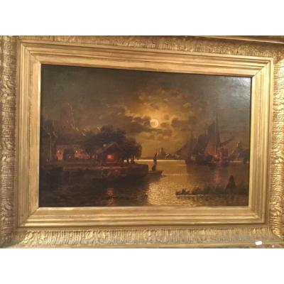 "Oil On Canvas ""clair De Lune"" 19th Century"