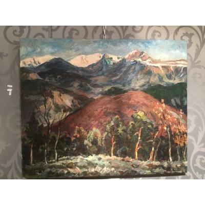 "Oil On Canvas  By Maurice Vagh Weinmann ""snowy Summits"""