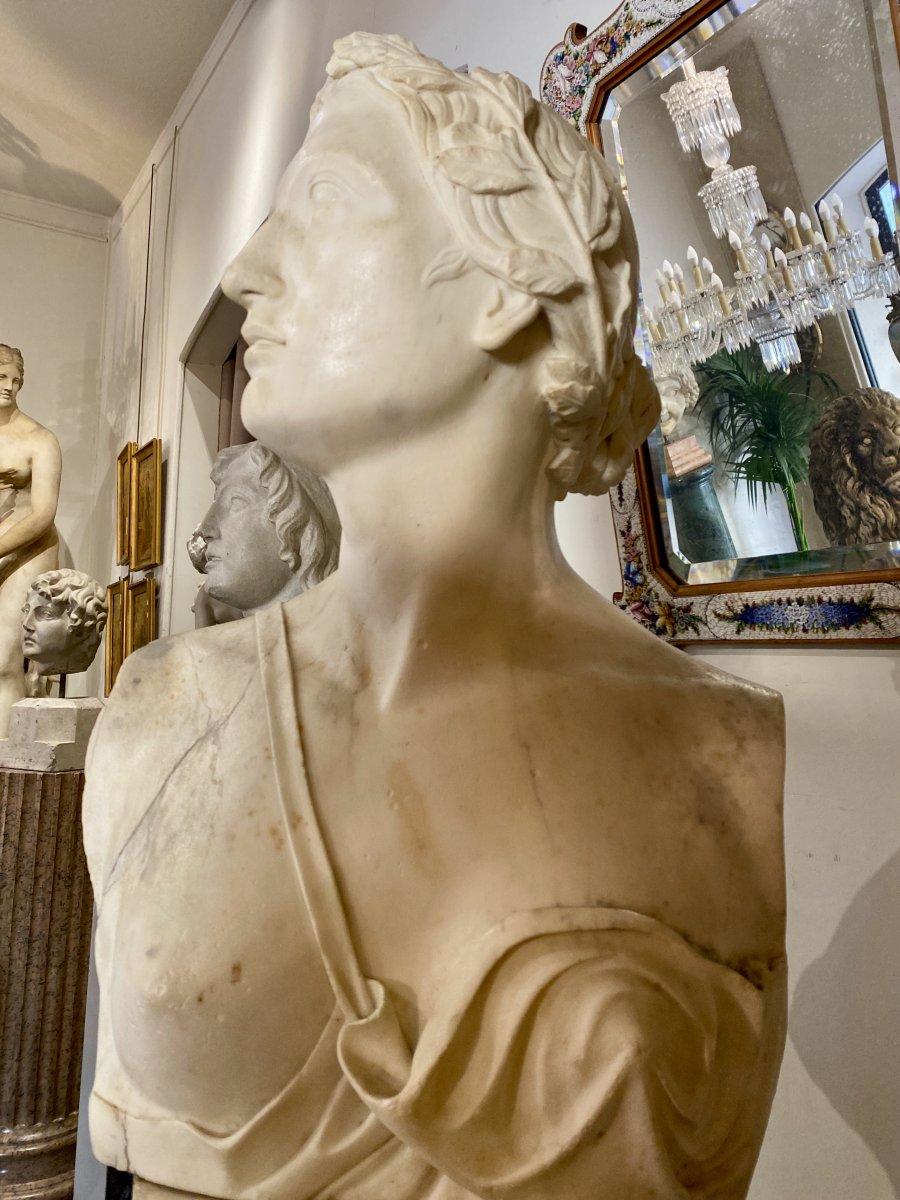Buste Néoclassique en marbre blanc, fin du XVIII°-photo-1