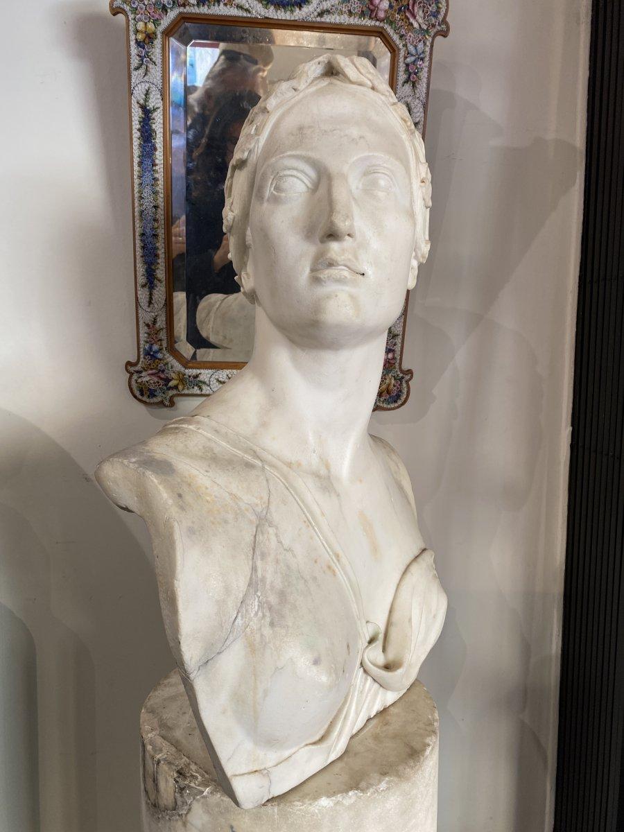Buste Néoclassique en marbre blanc, fin du XVIII°-photo-2